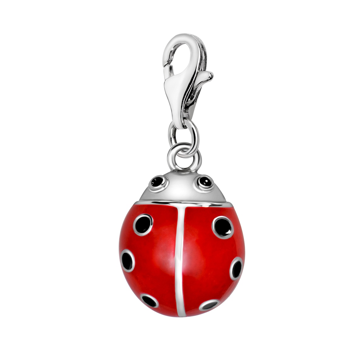Quiges 925 Sterling Silver Red Enamel 3D Insect Ladybug Clip On Charm Pendant